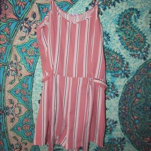 Pink and Black Stripped Romper